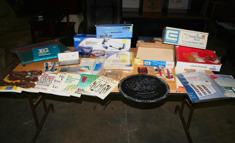 Lot #35 - Misc. Office: Hanging Folders, Paper Cutter, Cross Sterling Pen Set, Star Finder ...... (main image)