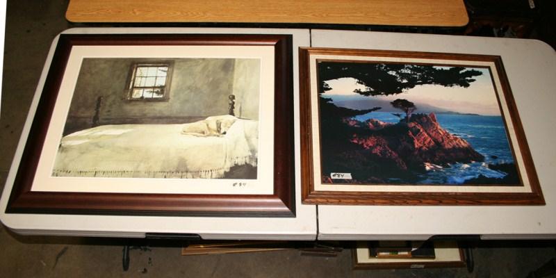 Lot #84 - 2 Framed Prints - Ocean Scene and Sleeping Dog (main image)