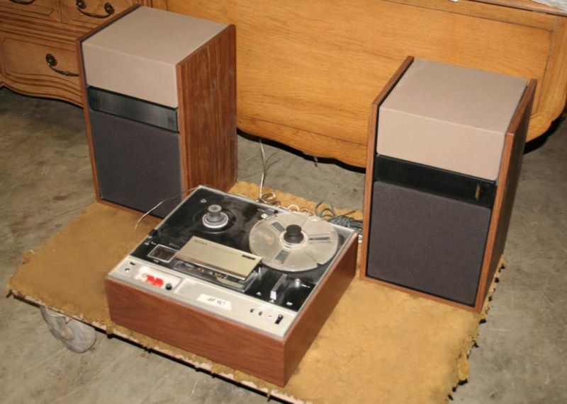 Lot #90 - Sony Reel To Reel 3 Head 'Tapecorder' with Pair of BOSE Speakers (main image)