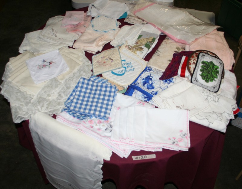 Lot #120 - Tablecloths, Napkins, Linens - Sets & Singles - Hand Embroidered (main image)