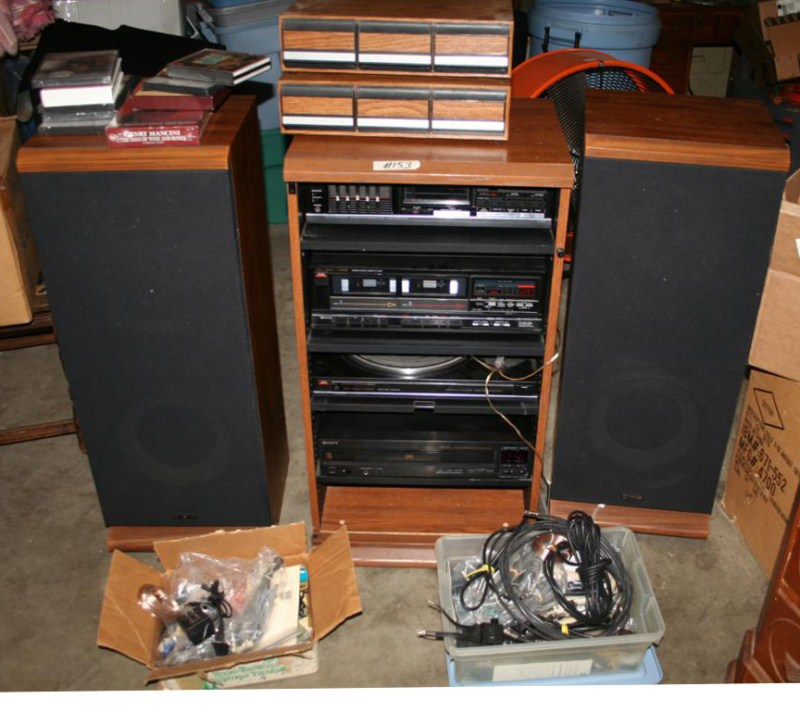 Lot #153 - Fisher Home Stereo, Turntable - Dual Cassette & Amp - with Sony 5 Disc Changer (main image)