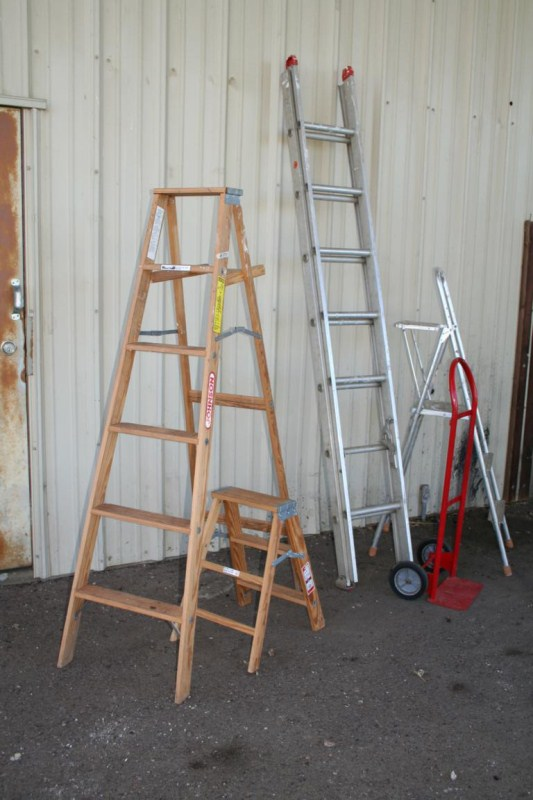Lot #1700 - A-Frame, Step, Extension & Platform Ladders plus Hand Truck (main image)