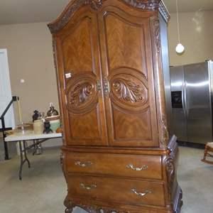 Lot # 53 - 'Pulaski' Wooden Furniture Ornate 2 Piece Armoire