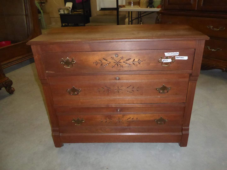 "Lot # 54 - Wonderful Antique Solid Wood ""Eastlake"" 3 Drawer Dresser on Casters (dovetailed drawers) (main image)"