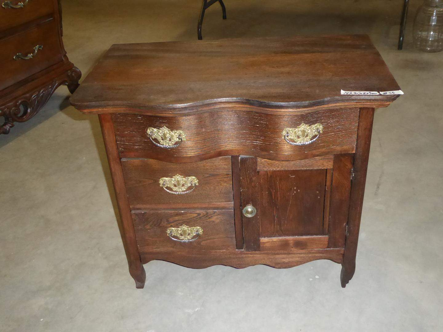 Lot # 56 - Antique Solid Wood Wash Stand w/Dovetailed Drawers (main image)