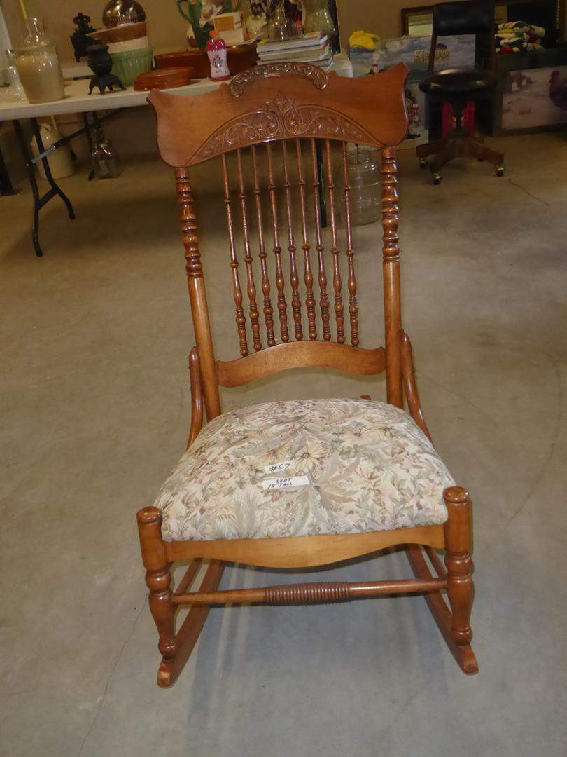 Lot # 57 - Vintage Wooden Rocking Chair w/Upholstered Seat (main image)