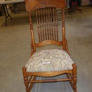 Lot # 57 - Vintage Wooden Rocking Chair w/Upholstered Seat