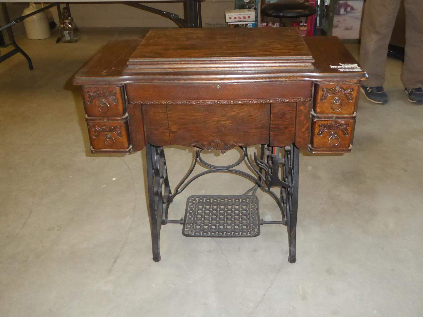 Lot # 58 - Antique Treadle Sewing Machine & Sewing Notions (main image)