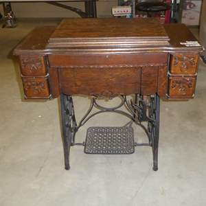 Lot # 58 - Antique Treadle Sewing Machine & Sewing Notions