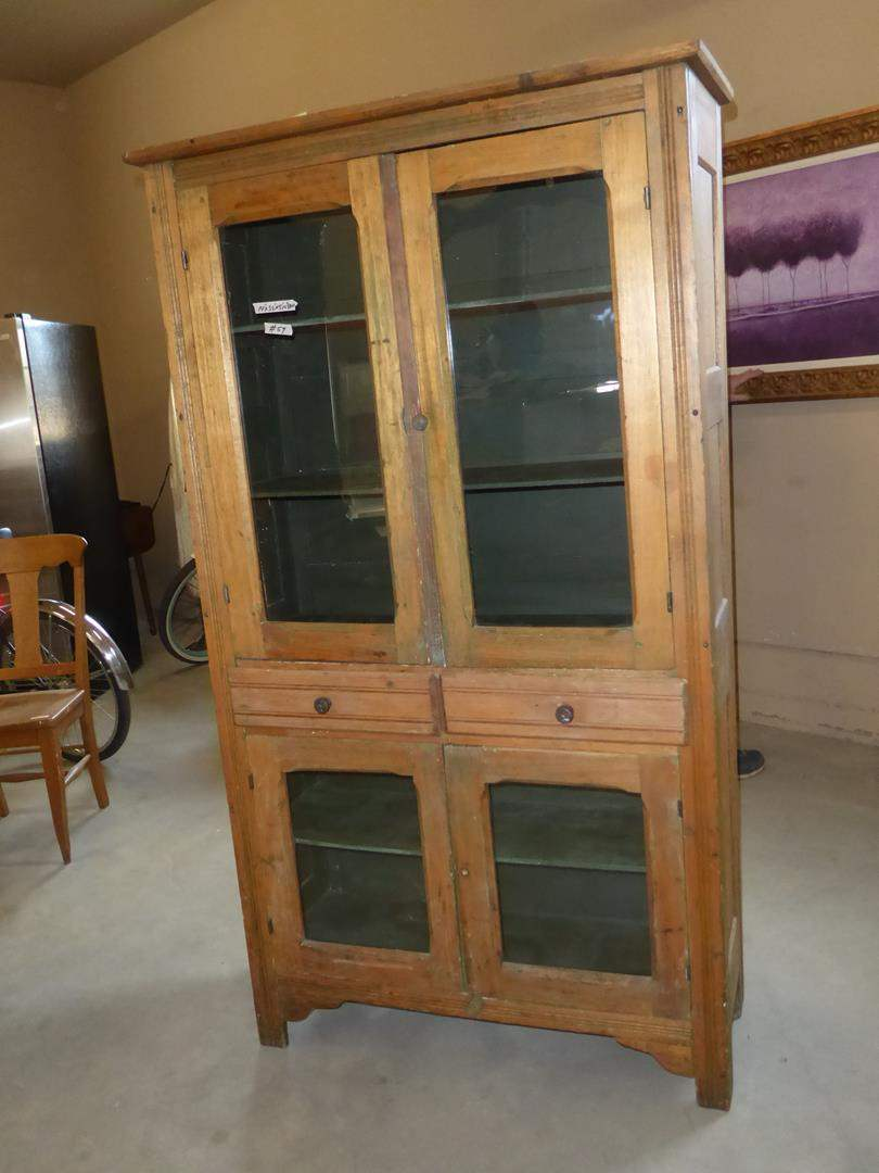Lot # 59 - Vintage Wooden Pie Safe Cabinet w/Glass Doors & Two Drawers (main image)