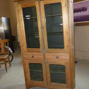 Lot # 59 - Vintage Wooden Pie Safe Cabinet w/Glass Doors & Two Drawers