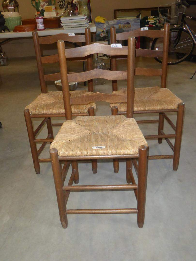 Lot # 60 - Three Vintage Rush Seat Dining or Accent Chairs (main image)