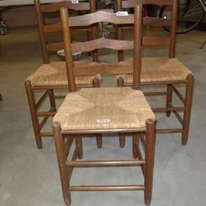 Lot # 60 - Three Vintage Rush Seat Dining or Accent Chairs