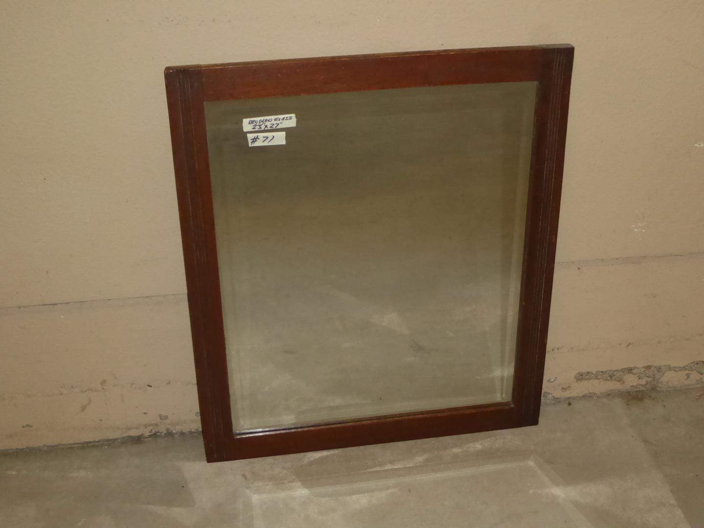 Lot # 71 - Vintage Wood Framed Beveled Glass Wall Mirror (main image)