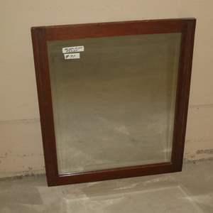 Lot # 71 - Vintage Wood Framed Beveled Glass Wall Mirror