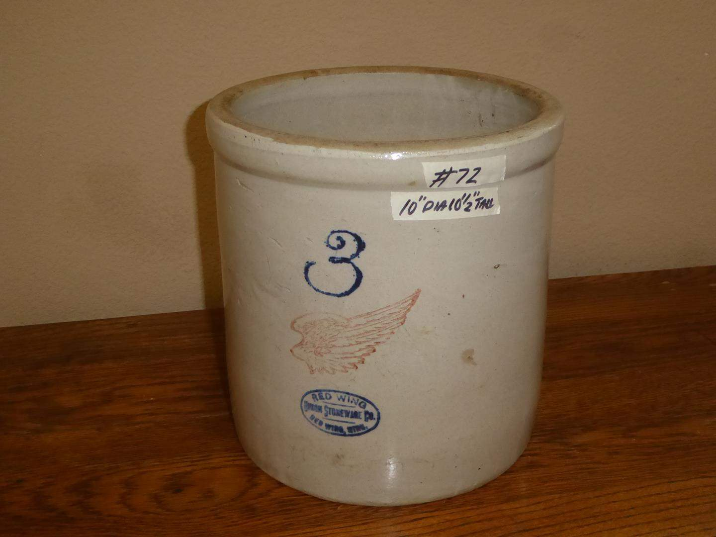 Lot # 72 - Antique 3 Gallon Red Wing Stoneware Crock (main image)