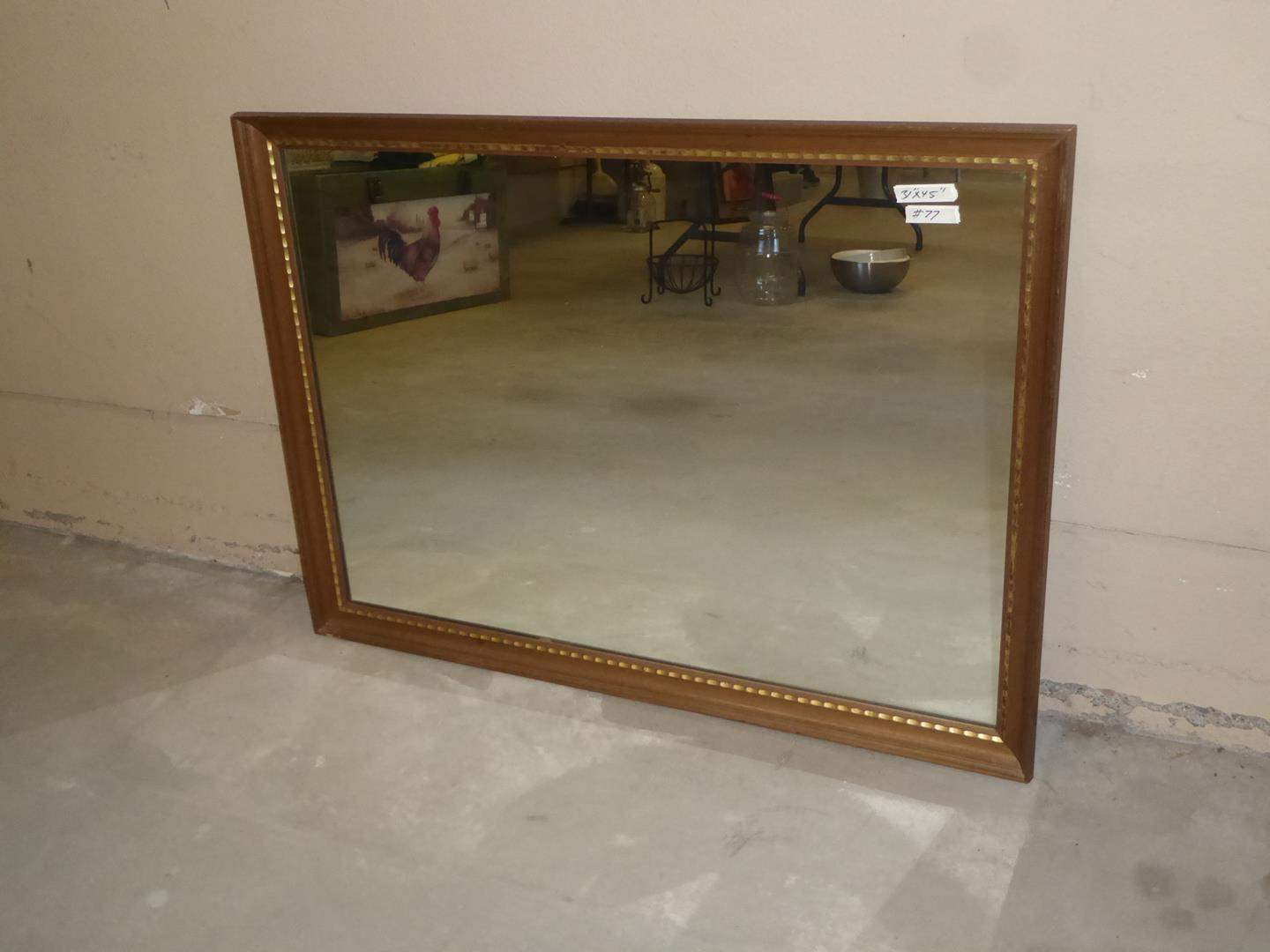 Lot # 77 - Vintage Wood Framed Wall Mirror (main image)