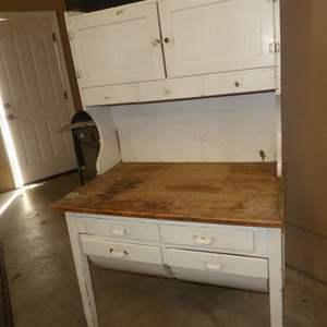 Lot # 83 - Antique 2 Piece Bakers Bin Table Cabinet