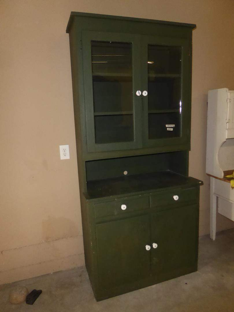Lot # 84 - Vintage Painted Green Solid Wood Cabinet  (main image)
