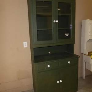 Lot # 84 - Vintage Painted Green Solid Wood Cabinet