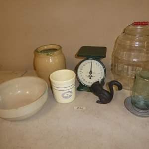 Lot # 86 - Vintage Stoneware Bowl, Crocks, Scale & More