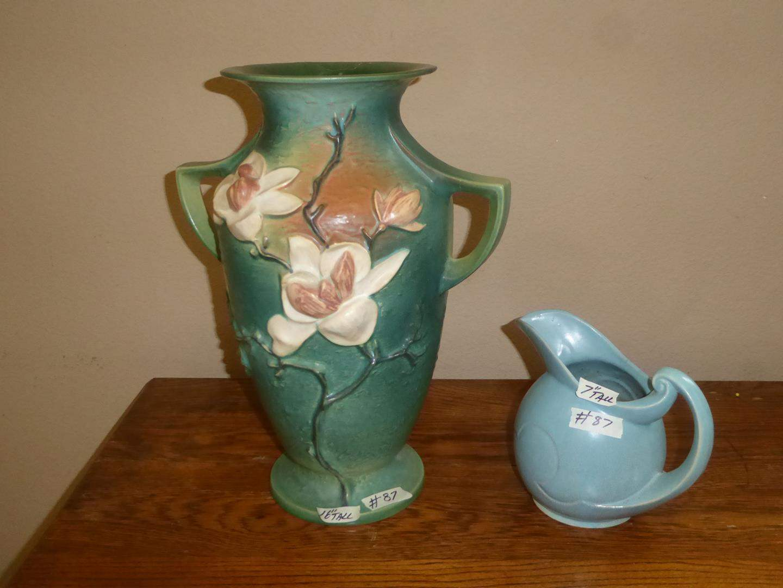 Lot # 87 - Large Vintage Roseville Pottery Magnolia 2 Handle Vase & Blue Pottery Pitcher (main image)