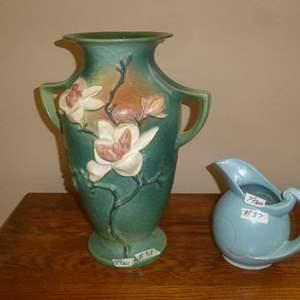 Lot # 87 - Large Vintage Roseville Pottery Magnolia 2 Handle Vase & Blue Pottery Pitcher