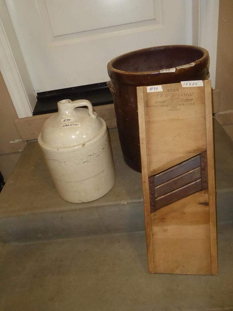 Lot # 88 - Vintage Stoneware Jug, 10 Gallon Crock & Kraut Cutter (main image)
