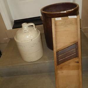 Lot # 88 - Vintage Stoneware Jug, 10 Gallon Crock & Kraut Cutter