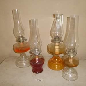 Lot # 89 - Four Vintage Glass Oil Lamps