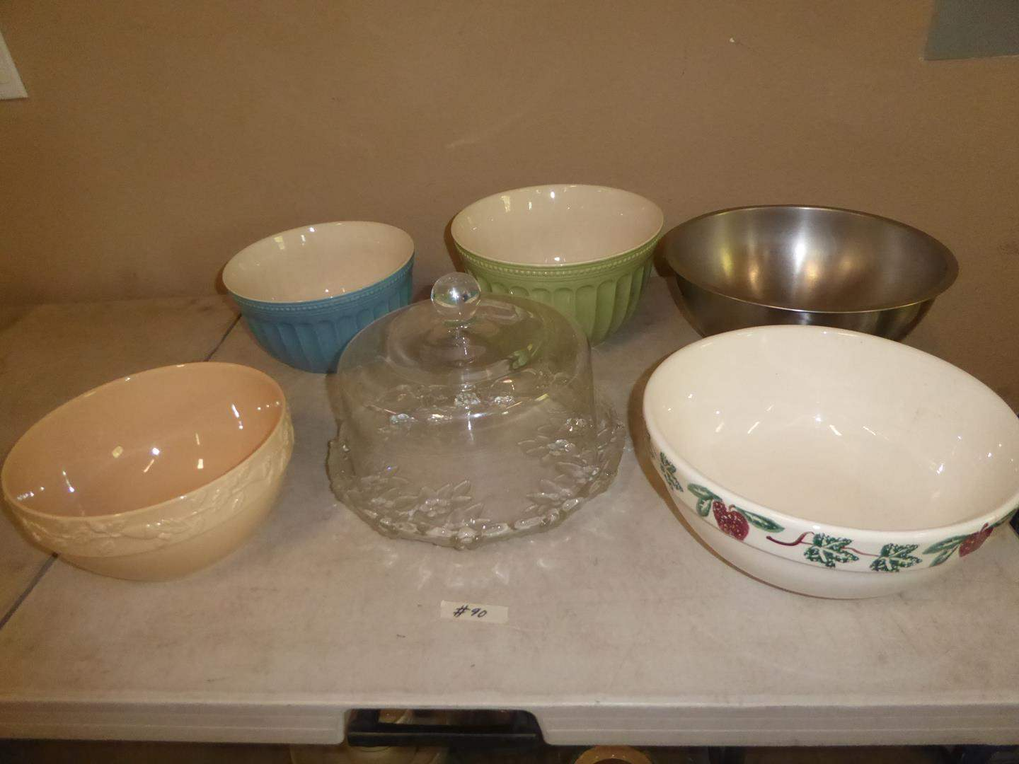 Lot # 90 - Ceramic Serving Bowls, Stainless Mixing Bowl & Glass Cake Plate w/Cover (main image)