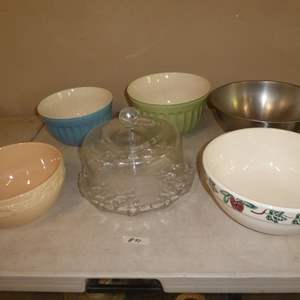 Lot # 90 - Ceramic Serving Bowls, Stainless Mixing Bowl & Glass Cake Plate w/Cover
