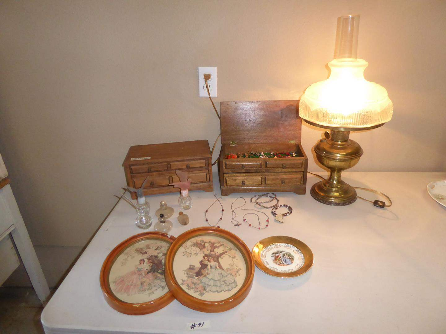 Lot # 91 - Vintage Prints, Electrified Oil Lamp, Perfume Bottles, Costume Jewelry & Jewelry Boxes (main image)
