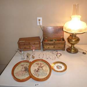 Lot # 91 - Vintage Prints, Electrified Oil Lamp, Perfume Bottles, Costume Jewelry & Jewelry Boxes