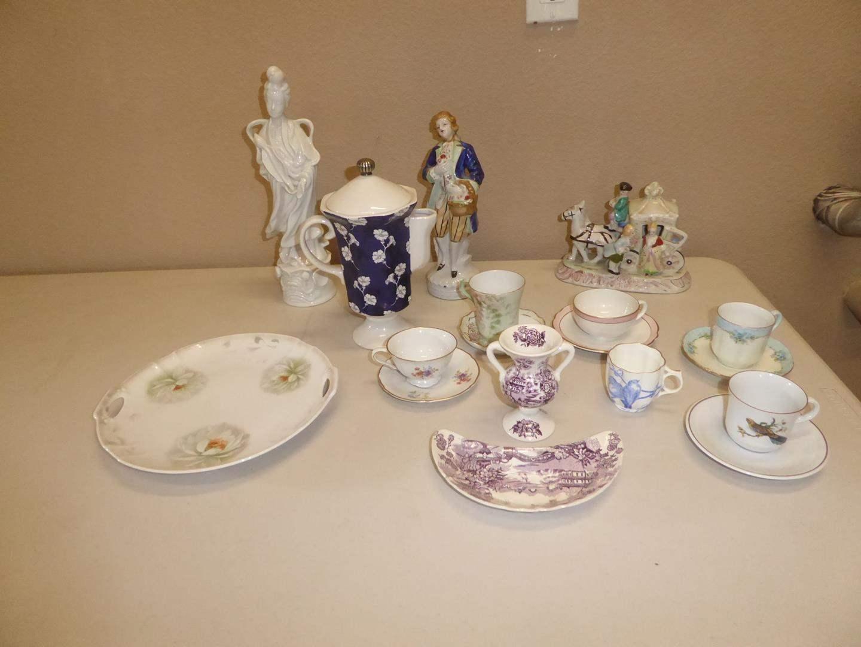Lot # 92 - Vintage Tea Cups, Ceramic Tea Pot & Figurines (main image)
