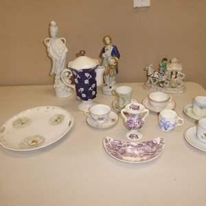 Lot # 92 - Vintage Tea Cups, Ceramic Tea Pot & Figurines