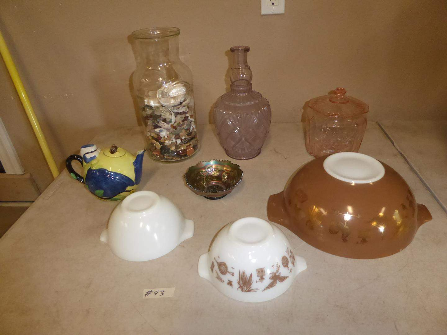 Lot # 93 - Vintage Pyrex Mixing Bowls, Green Carnival Glass Bowl, Covered Pink Glass Candy Dish, Jar Full of Beach Glass & Rocks (main image)