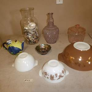 Lot # 93 - Vintage Pyrex Mixing Bowls, Green Carnival Glass Bowl, Covered Pink Glass Candy Dish, Jar Full of Beach Glass & Rocks