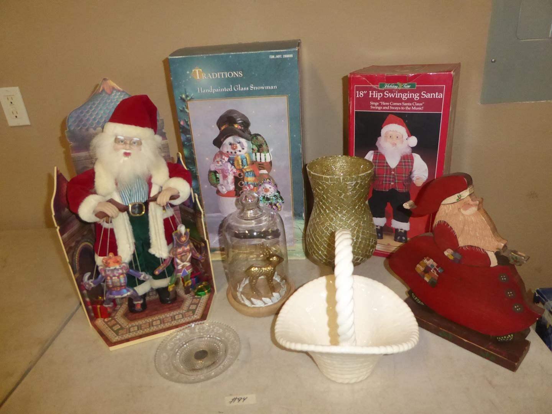 Lot # 94 - Christmas Santas, Hand Painted Glass Snowman, Candle Holders & Ceramic Basket (main image)