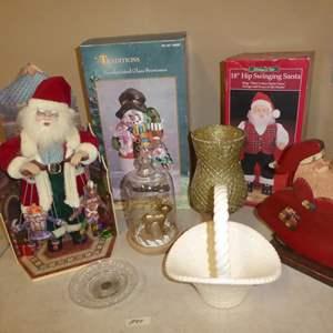 Lot # 94 - Christmas Santas, Hand Painted Glass Snowman, Candle Holders & Ceramic Basket