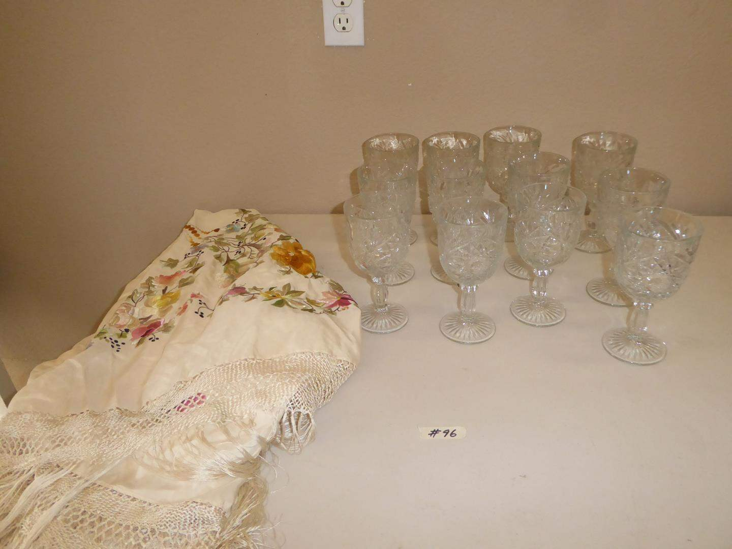 Lot # 96 - Pretty Glass Stemware & Vintage Embroidered Silk Tablecloth w/Fringe (main image)