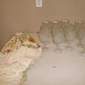 Lot # 96 - Pretty Glass Stemware & Vintage Embroidered Silk Tablecloth w/Fringe