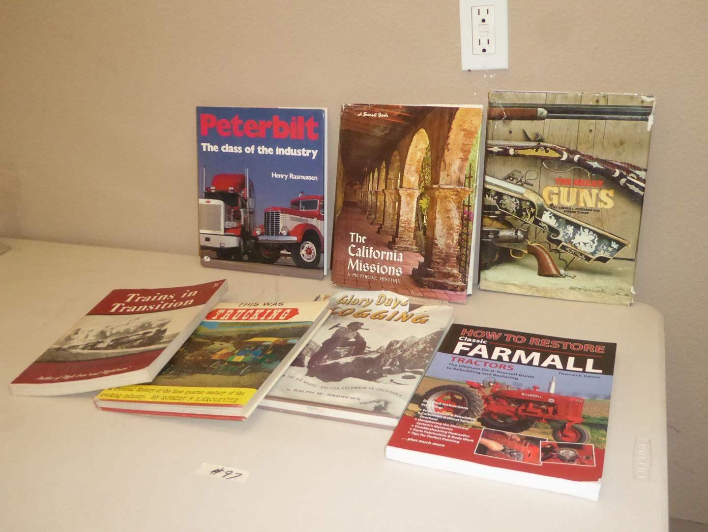 Lot # 97 - Vintage Trains, Trucking, Logging & Guns Books (main image)