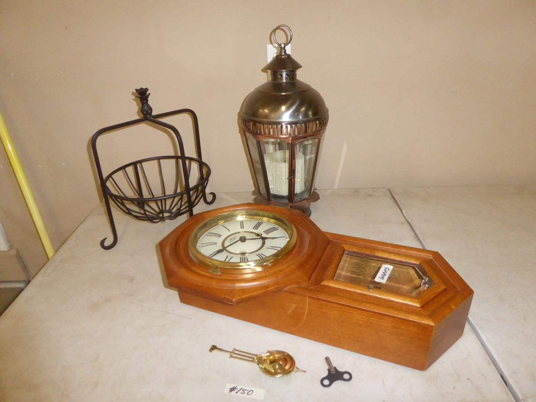 Lot # 150 - Regulator Clock w/Key, Hanging Candle Holder & Metal Fruit Basket (main image)