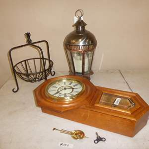 Lot # 150 - Regulator Clock w/Key, Hanging Candle Holder & Metal Fruit Basket