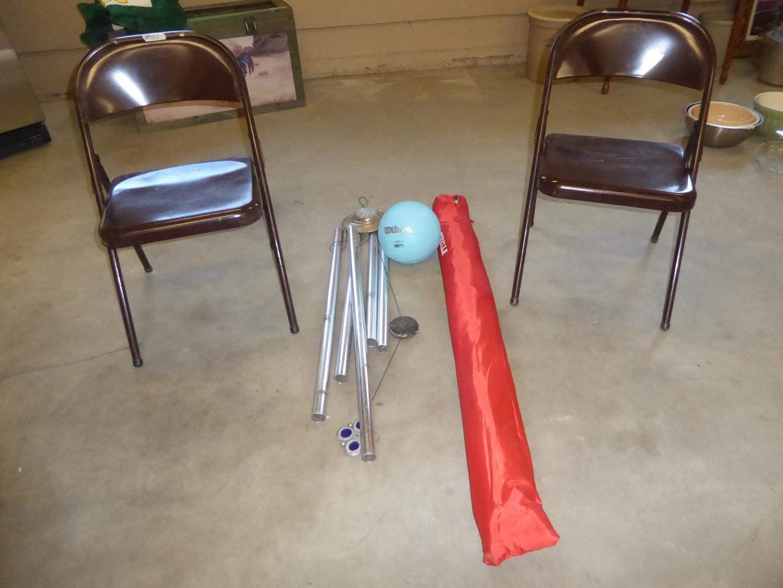 Lot # 151 - Pair Metal Folding Chairs, Large Windchime, Sport Brella & Soft Play Ball (main image)