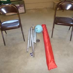 Lot # 151 - Pair Metal Folding Chairs, Large Windchime, Sport Brella & Soft Play Ball
