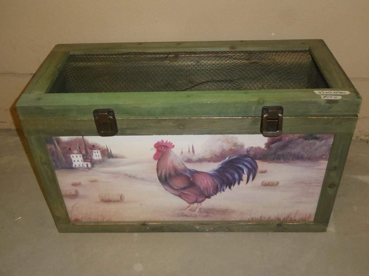 Lot # 152 - Wooden Rooster Bin & 3 Pillow Shams (main image)