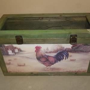 Lot # 152 - Wooden Rooster Bin & 3 Pillow Shams