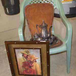 Lot # 153 - Framed Print, Silver Plate Coffee Set, Leather Seat Cushion & Plastic Chair